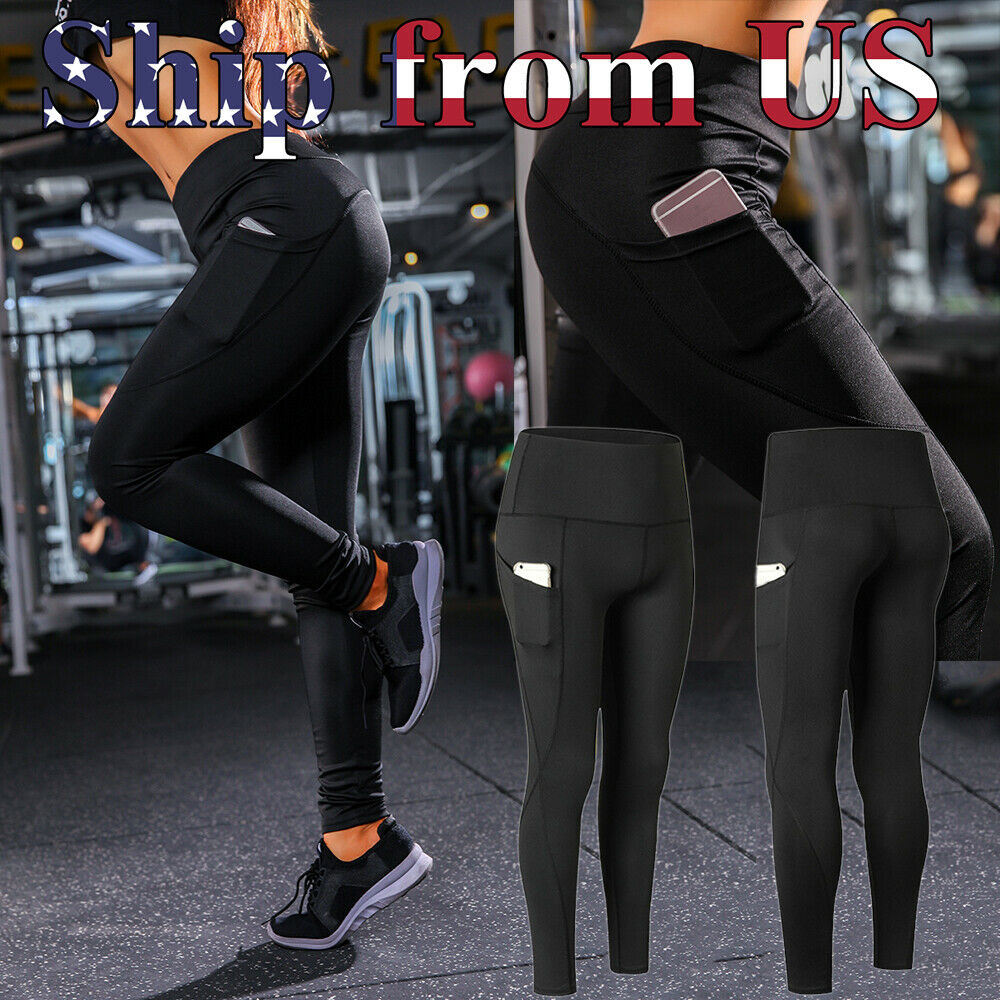 Women High Waist Yoga Pants Pockets Sport Gym Compression Leggings Fitness Tight Clothing & Accessories