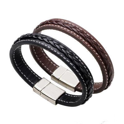 Mens Braided Leather Bracelet - Black Brown Braided Leather Bracelet Men Women Wristband Bangle Metal Buckle