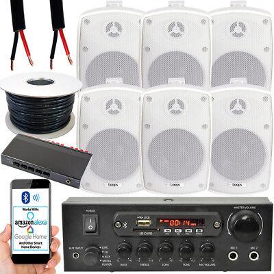 Exterior Altavoz Bluetooth Kit – 6x 60W Blanco – Amplificador Estéreo Jardín...