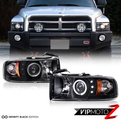 For 94-01 Dodge Ram 1500 Halo LED Projector Headlights PAIR 94-02 Ram 2500 3500