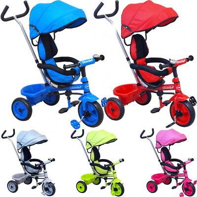 Dreirad Kinderdreirad Tricycle zum schieben lenken mit Schiebestange Sonnendach