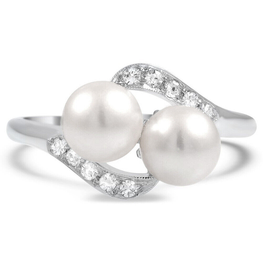 Women Fashion Jewelry Two White Pearl Rings For Wedding Enga
