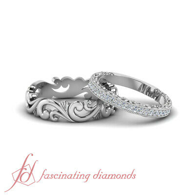 Antique Looking Cheap Wedding Rings Sets For Him and Her in Solid 14k White (Cheap Wedding Rings For Him And Her)