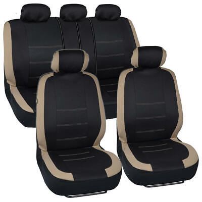 Tan Stitched Car Seat Covers - Beige Accent on Black Flat Cloth 9pc Front Rear