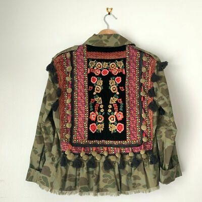 Zara Woman Women's XS Camo Military Floral Embroidery Tassel Peplum Jacket NEW