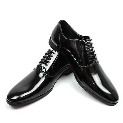 - New Men's Black Tuxedo Patent Leather Round Toe Formal Dress Shoes Lace Up AZAR