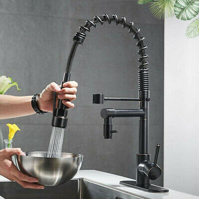 Spring Kitchen Sink Faucet Pull Down Sprayer with Cover Plate Matte Black Colors