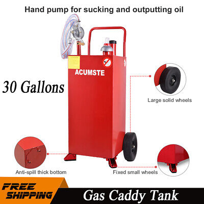 Pro 30 Gallon Gas Fuel Diesel Caddy Transfer Tank Container W Rotary Pump Red