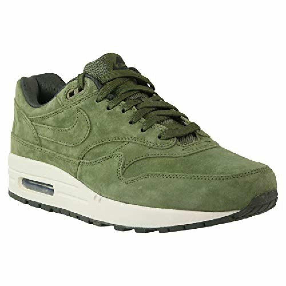Nike Air Max 1 Premium Suede Olive Canvas Sequoia Green White 875844 301 Men's