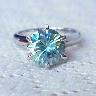 2.00 Ct. Round,Blue&Green lab-created Diamond Engagement Ring in 14K White Gold for sale  Shipping to South Africa