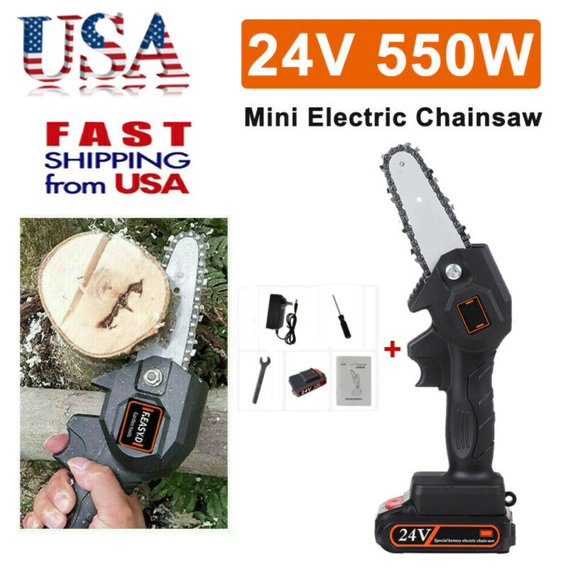 Mini Chainsaw,4 Inch Cordless Electric Protable Chainsaw Rec