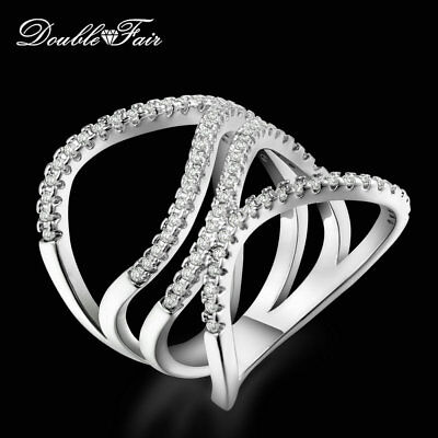 Fashion Hollow Cubic Zirconia Platinum Plated Anniversary Finger Rings For Women