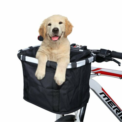 Bike Basket, Folding Small Pet Cat Dog Carrier Front Removable Bicycle Handlebar