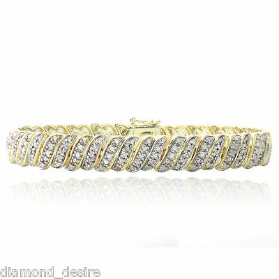 18K Yellow Gold Finish Natural Fancy Tennis Bracelet 1ct Lab Diamond on Brass