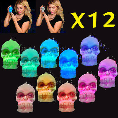 12X Light up SKULL NECKLACES Halloween COSTUME Flashing BLINKING Glow Beads