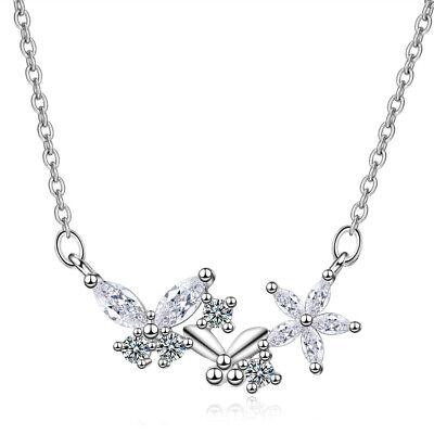 Austrian Crystal Butterfly Flower - 925 Sterling Silver Austrian Crystal Butterfly Flower Pendant Necklace For Women