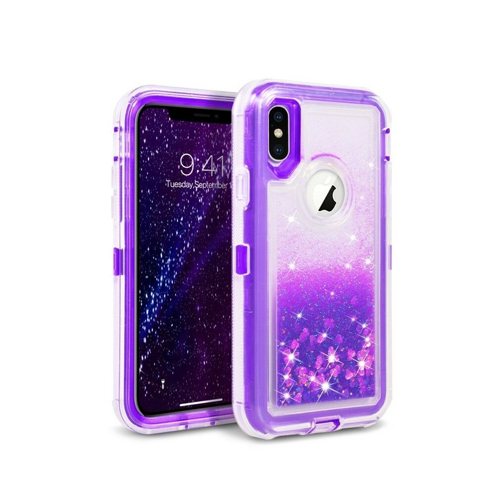 For Apple iPhone XR Liquid Glitter Quicksand Hybrid Heavy Duty Case Cover