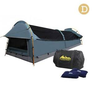 Brand New: Double Canvas Camping Swag Tent Navy w/ Air Pillow Baulkham Hills The Hills District Preview