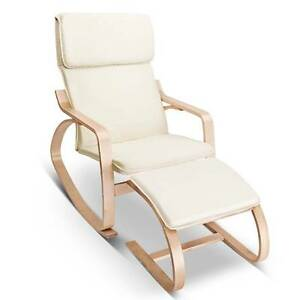 Birch Plywood Fabric Lounge Rocking Chair - Beige - with Foot Sto Melbourne CBD Melbourne City Preview