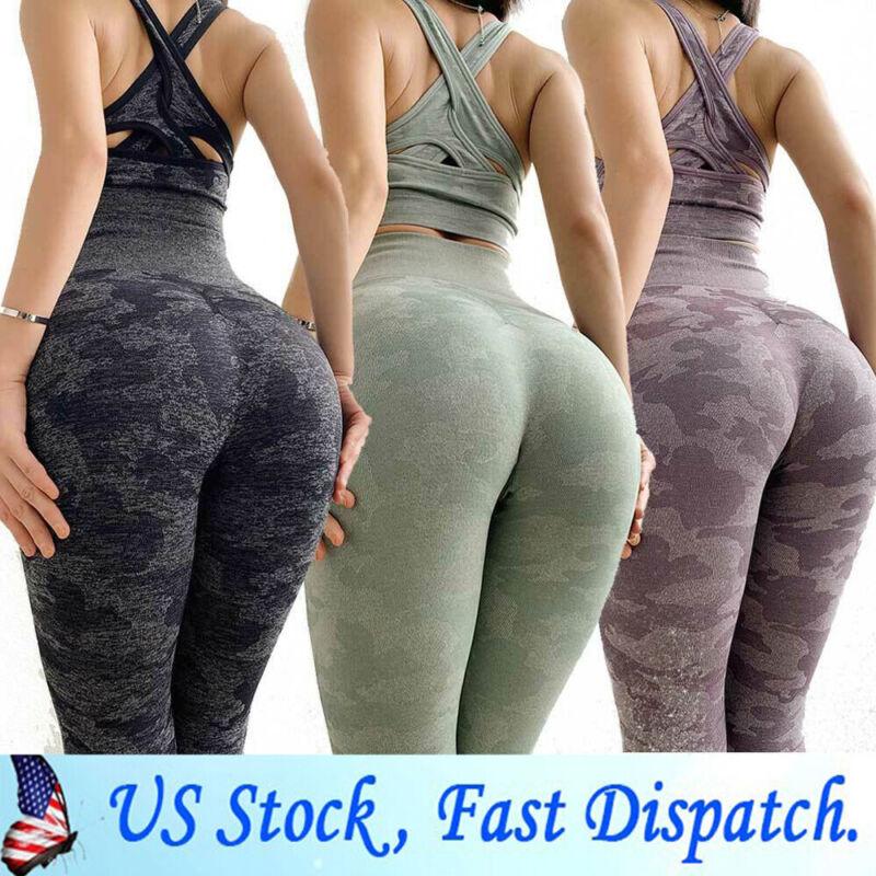 Womens Yoga Suit Seamless Pants Leggings+Top Bra Sports Gym
