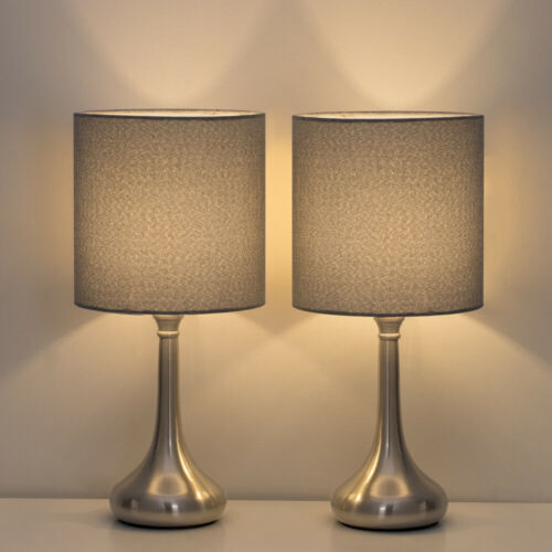 2PCS Table Lamp Modern Bedside Desk Sand nickel Base with Gr