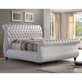 White Leather Luxury Swan Bed