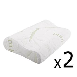 Set of 2 Bamboo Fabric Cover Contour Memory Foam Pillow 50 x 30 c