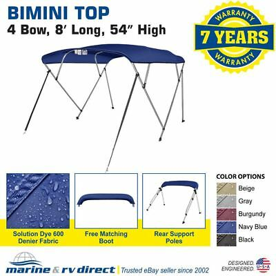 """Bimini Top Boat Cover 4 Bow 54"""" H 79"""" - 84"""" W 8 ft. L. Solution Dye Navy Blue"""