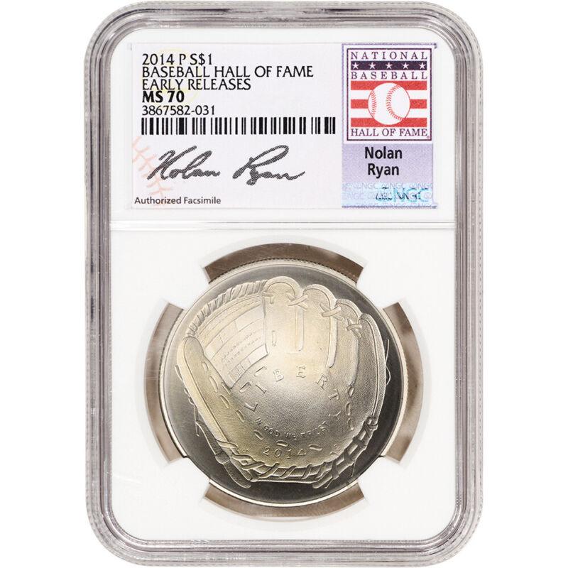 2014-P US Baseball BU Silver $1 - NGC MS70 HOF Nolan Ryan Early Releases