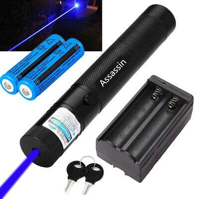 600Miles 405nm Blue Purple Beam Laser Pointer Pen Lazer+2x 18650 Battery+Charger