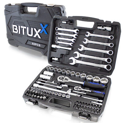 BITUXX® Knarrenkasten Ratschenschlüssel Werkzeugkoffer 82tg Werkzeugkiste