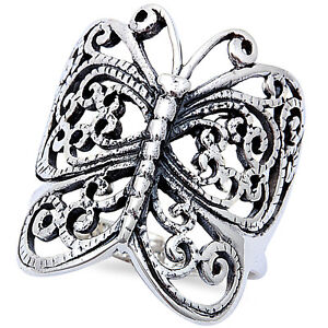 Antique Filigree Style Butterfly 925 Sterling Silver Ring Sizes 6 9 Ebay