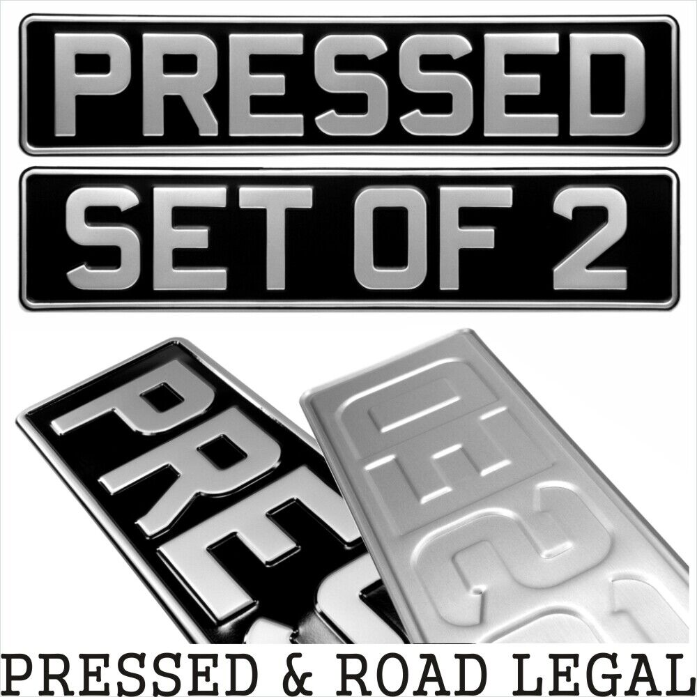 Car Parts - SET OF 2 OBLONG Black and Silver Pressed Number plates Car Metal Classic (pair)