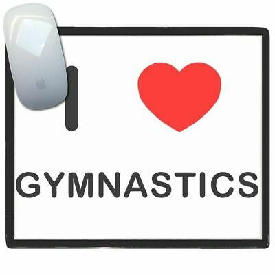 I Love Heart Gymnastics - Thin Pictoral Plastic Mouse Pad Mat Badgebeast