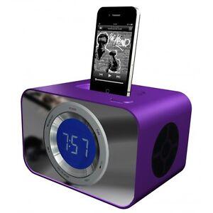 kitsound clockdock iphone 3 4 4s ipod clock radio docking station speaker purple ebay. Black Bedroom Furniture Sets. Home Design Ideas