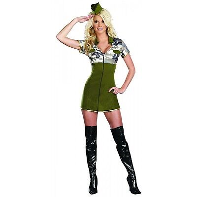 SEXY HOT WOMEN'S ARMY GENERAL MILITARY HALLOWEEN COSTUME DRESS & GLASSES SM 2-6 - Female Army Halloween Costumes