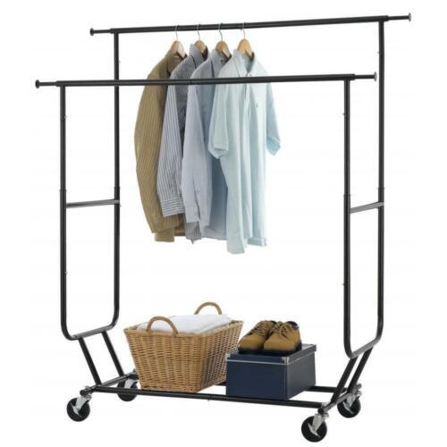 Econoco Adjustable Height Heavy Duty Double Bar Retail Clothing Rack w/V-Brace