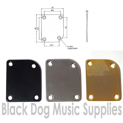 Guitar Neck Joint Plate curved rounded corner Gold, Black or Chrome inc screws