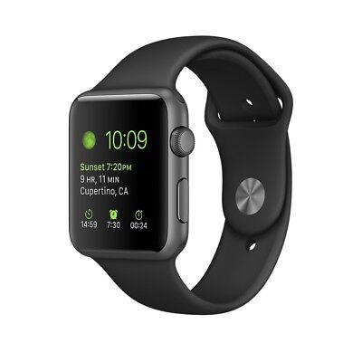 Apple Watch Sport 38mm 7000 Series Space Grey Case Black Sport Straps