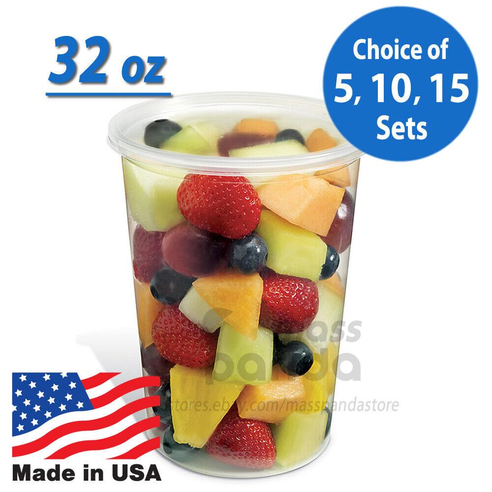 32oz Round Clear Plastic Deli Food/Soup Restaurant Storage C