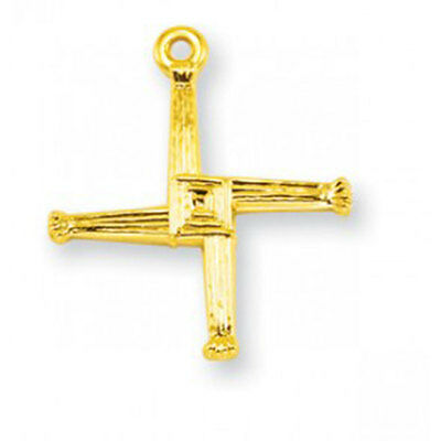 3 4 Inch Gold Over Sterling Silver St  Brigid Cross With 18 Inch Chain