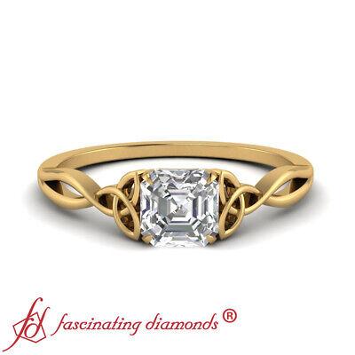 .50 Ctw Asscher Cut Diamond Solitaire Celtic Engagement Ring In 18K Yellow Gold