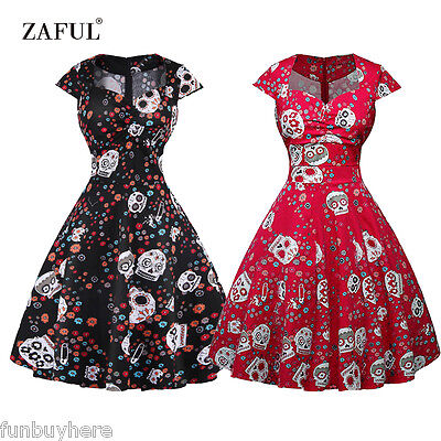 Womens Skull Dress (Vintage Dress Women Skull Print Sweetheart Swing Dress Rockabilly)