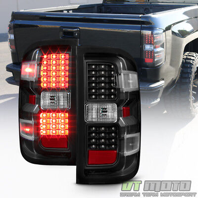 Black 2014-2018 Chevy Silverado 1500 2500 HD 3500 HD LED Tail Lights Brake Lamps