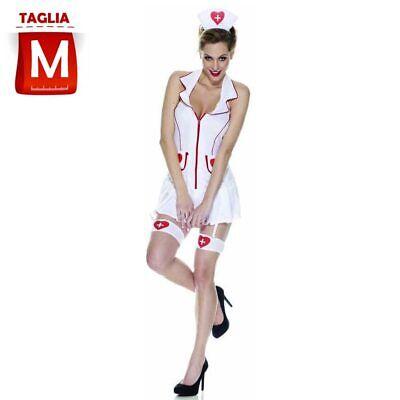 Costume Infermiera Sexy Donna Taglia M Con Vestitino e Calze Carnevale Halloween