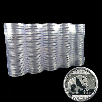 10Pcs/set 40mm Clear Round Cases Coin Storage Capsules Applied Holder Round Box