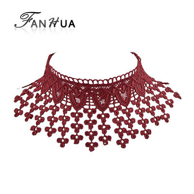 Fanhua Punk Rock Style Statement Necklace Red Color Lace Rope Chain With Flower