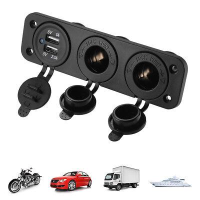 12V Car Boat Cigarette Lighter Socket +Dual USB Port Charger Mount Panel - Car Mount Lighter Socket