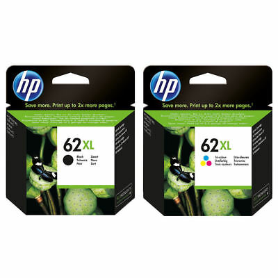 2 PACK NEW HP GENUINE 62XL Black & Tri-Color Ink ENVY 5540 5541