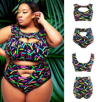 - Plus Size Women's High Waist Floral Bikini Set Swimsuit Beach Swimwear 2 piece